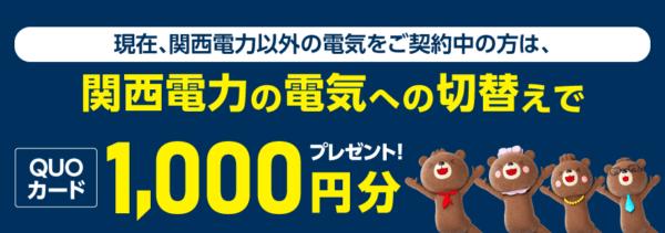 関西電力の電気切り替えキャンペーン